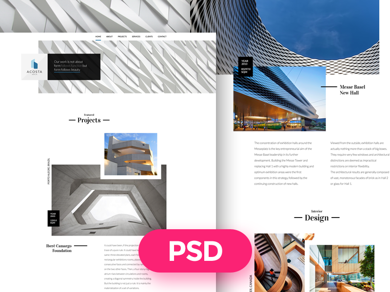 Acosta Arch free psd template preview