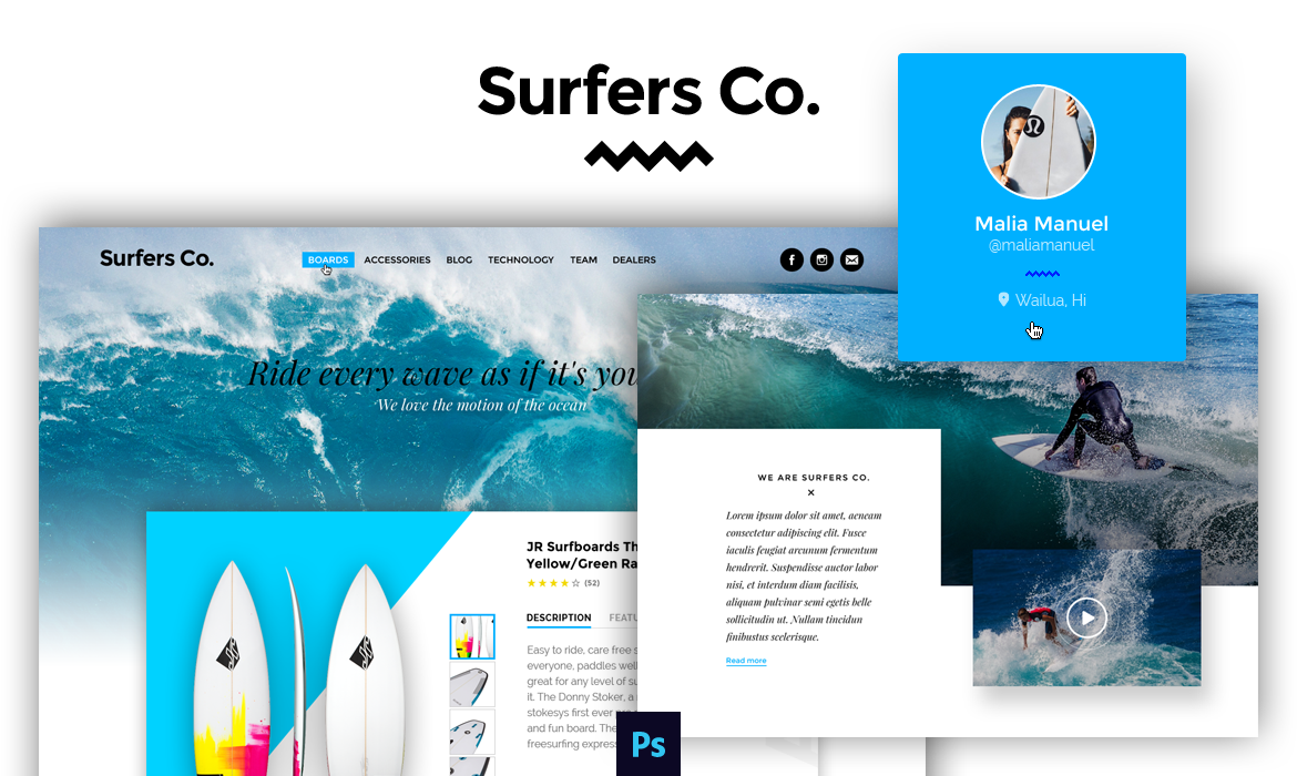 surfers co free psd template for surf shop