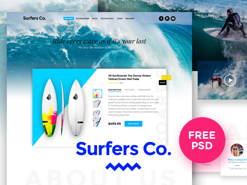 Surfers Co. free psd template preview