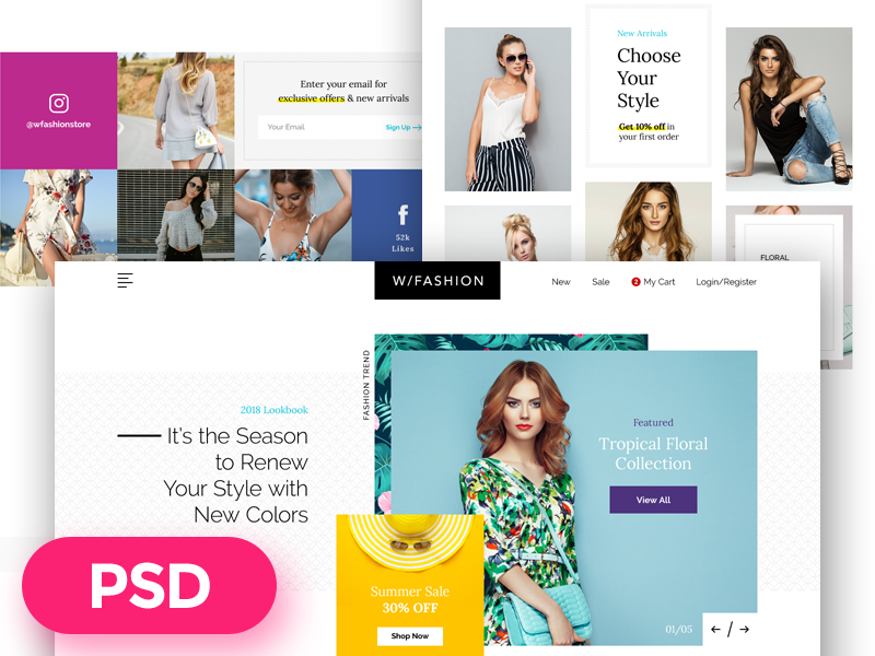W/Fashion free psd template preview
